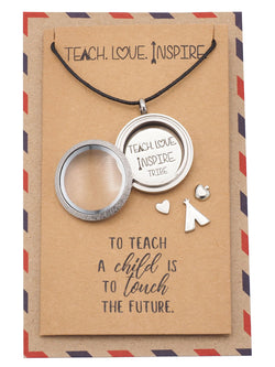 Brielle Teacher Locket Necklace with Teepee, Heart, Apple, and Arrow Charms, Teacher Gifts, Gifts for Teacher With Greeting Card - Quan Jewelry
