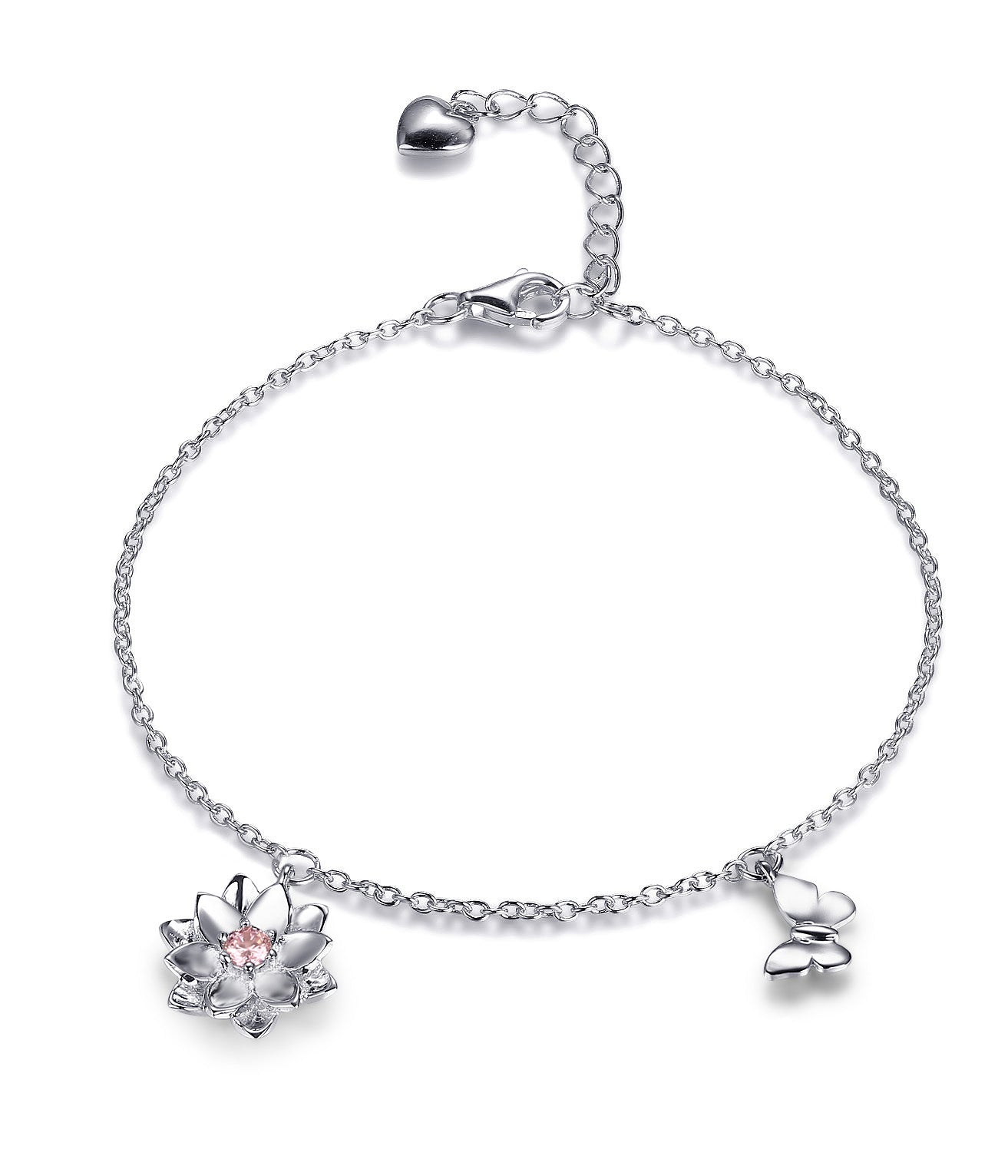 Adriene Lotus Flower Butterfly Bracelet, Yoga Jewelry Gifts, 925 Sterling Silver - Quan Jewelry