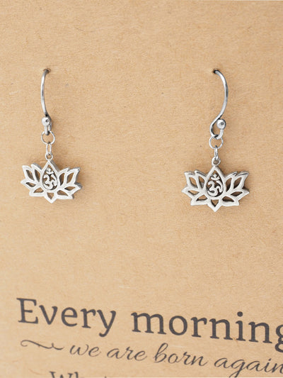 Reena Lotus Flower Earrings with Om Symbol, Birthday Gifts for Women, Inspirational Greeting Card