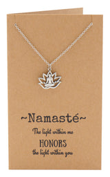 Aura Yoga Lotus Pose Necklace, Yoga Jewelry - Quan Jewelry
