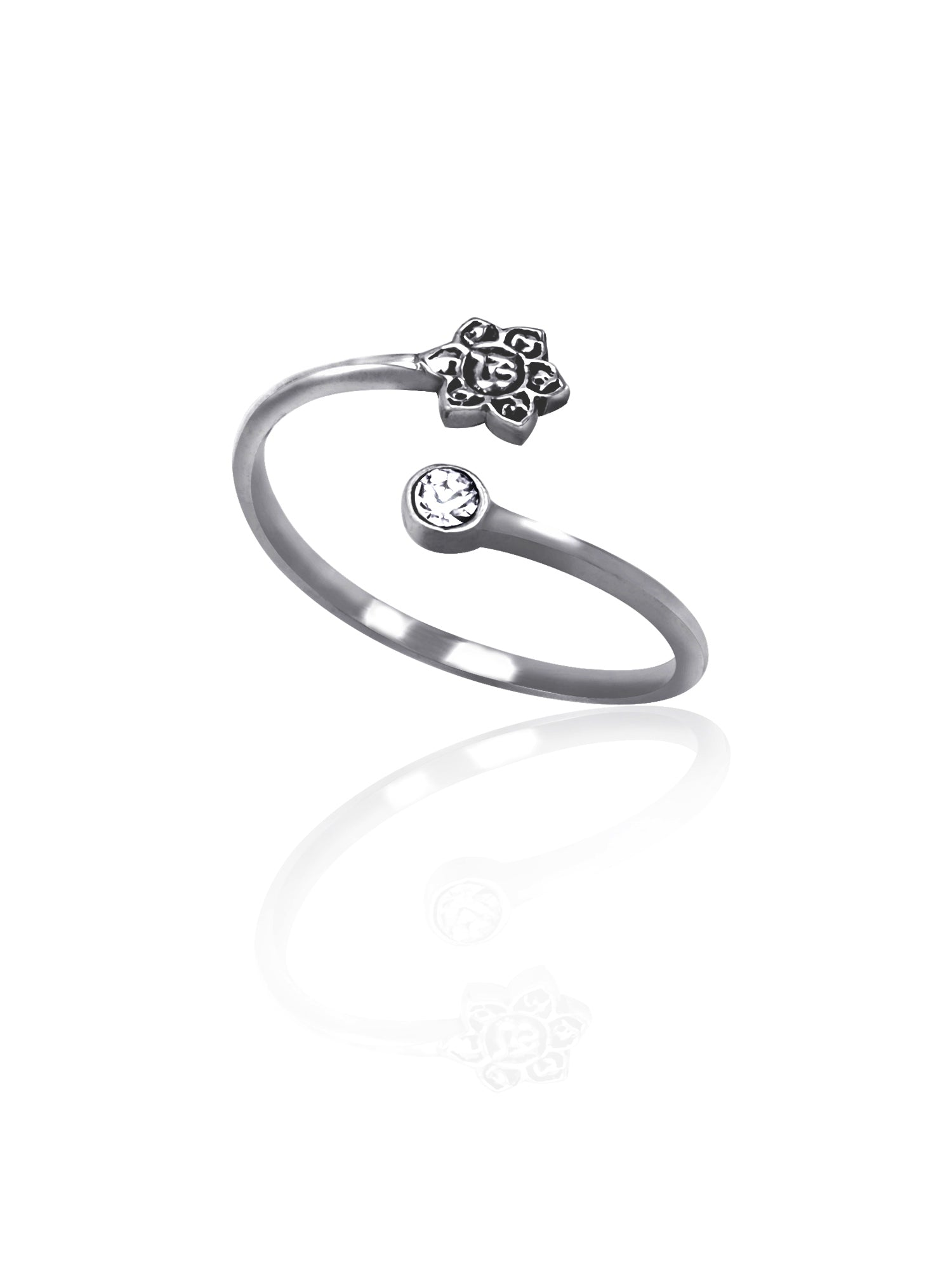Hannah Lotus Flower Ring, Yoga Gifts, Om Rings for Women