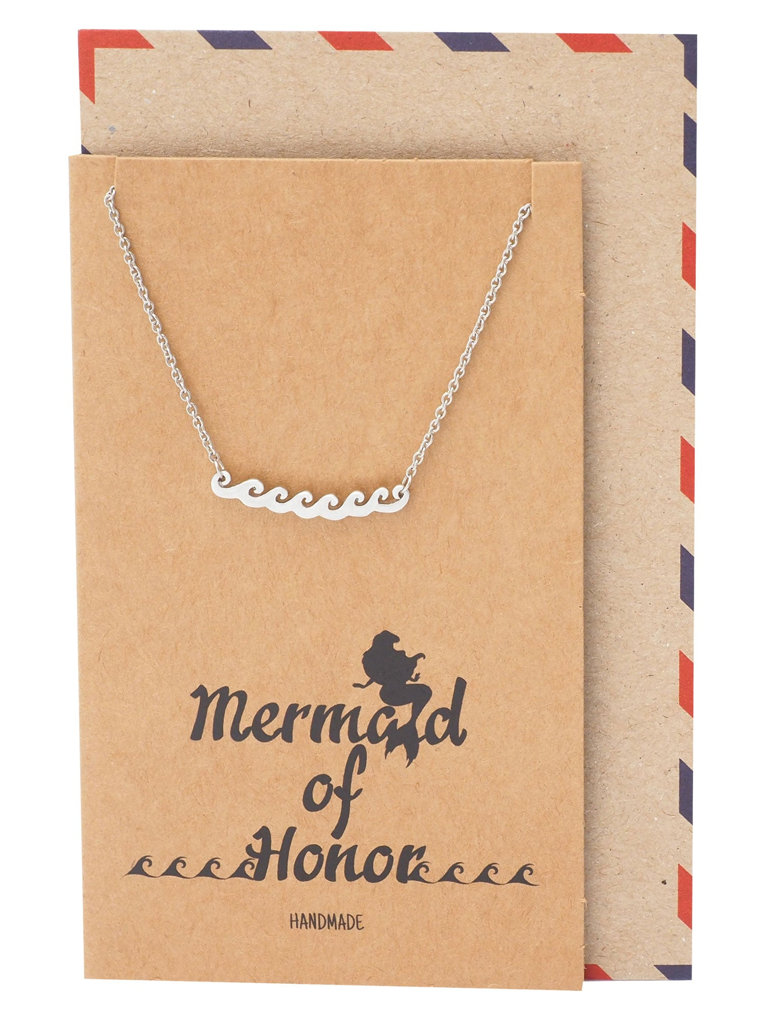 Coraline Mermaid Beach Necklace with Ocean Waves Pendant, Surfer Bridesmaid Gifts
