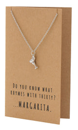 Mela Funny 30th Birthday Cards, Margarita Jewelry Charm Necklace,  - Quan Jewelry - 9