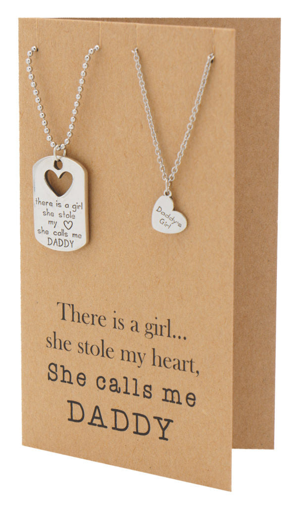 Mason Father Daughter Personalized Engraved Necklaces, Father's Day Card,  - Quan Jewelry - 7