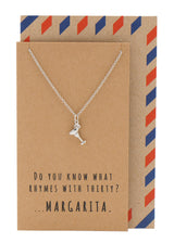 Mela Funny 30th Birthday Cards, Margarita Jewelry Charm Necklace, Silver / Brown - Quan Jewelry - 1