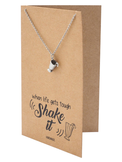Shane Milkshake Necklace with Milkshake Charm Pendant for Women, Funny and Motivational Quote