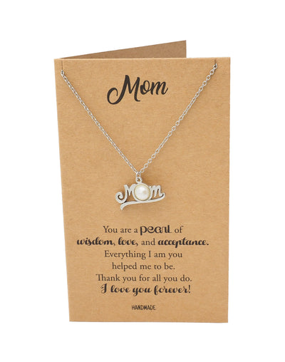 Aurelie Cursive Mom with Pearl Pendant Necklace, Mother's Day Gifts for Women with Thank You Card