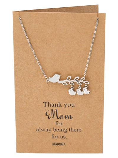Bird Necklace and Thank You Card