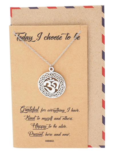Katrea Om Pendant Yoga Necklace for Women Inspirational Jewelry