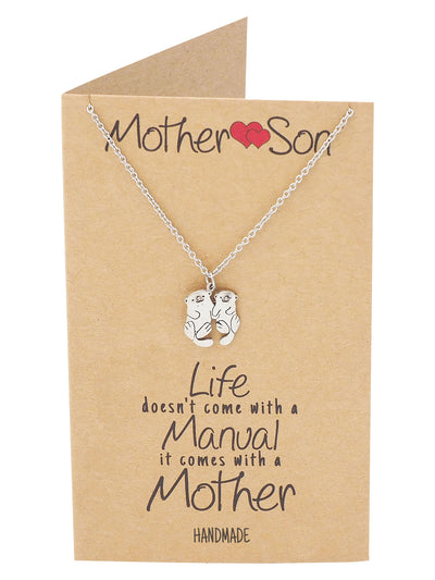Kayden Mother and Son Otter Necklace with Inspirational Quote