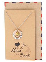 Julie Heart And Moon Engraved Necklace, Gifts For Women, Birthday Gifts Comes with Sweet Quote - Quan Jewelry