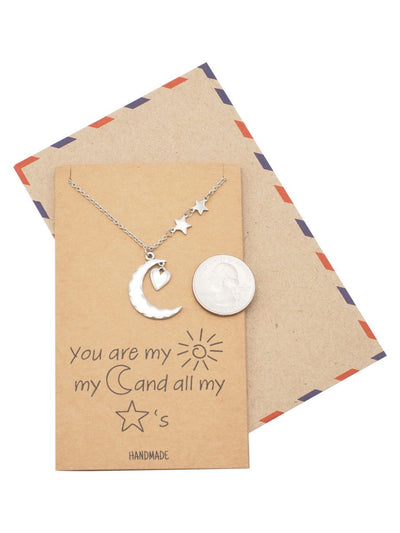 Lucille Heart Moon and Stars Necklace, Birthday Gift for Her for Women, Handmade with Quote Card