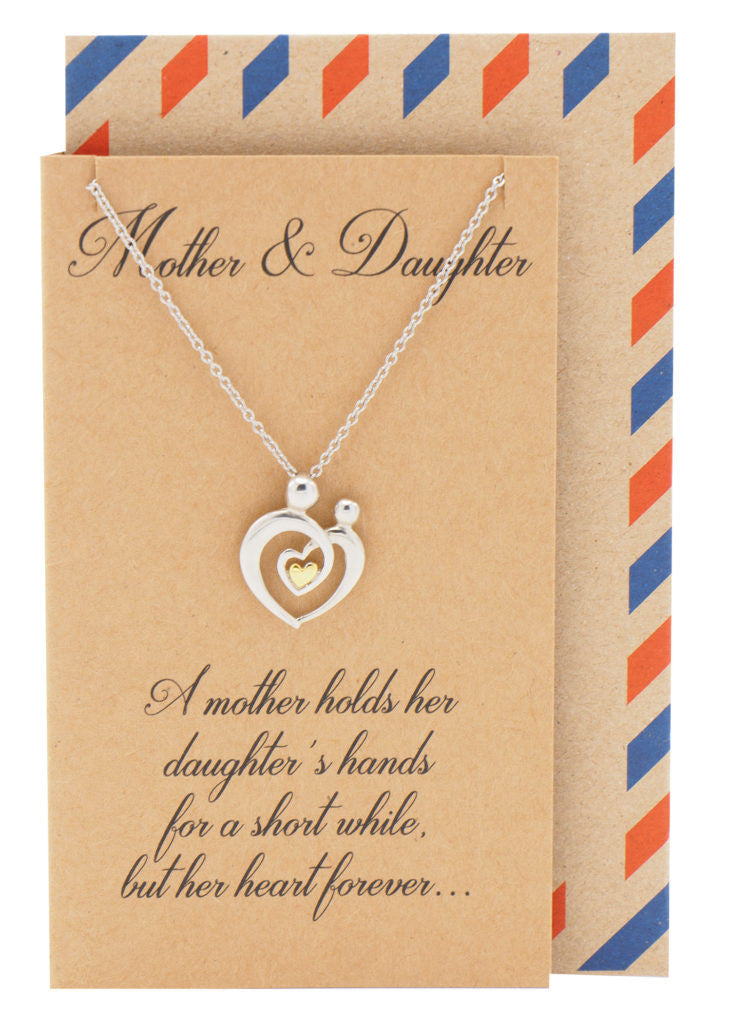 Evie Mother's Heart Necklace, Mothers Day Jewelry with Greeting Card - Quan Jewelry