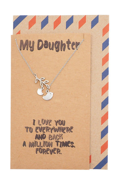 Izy Mother and Daughter Bird Necklace, Gifts for Daughter, with Inspirational Quote - Quan Jewelry
