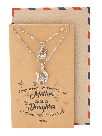 Rosita Mermaid Tail Pendant with Swarovski Crystals, Mother Daughter Set of 2 Necklaces, Inspirational Greeting Card