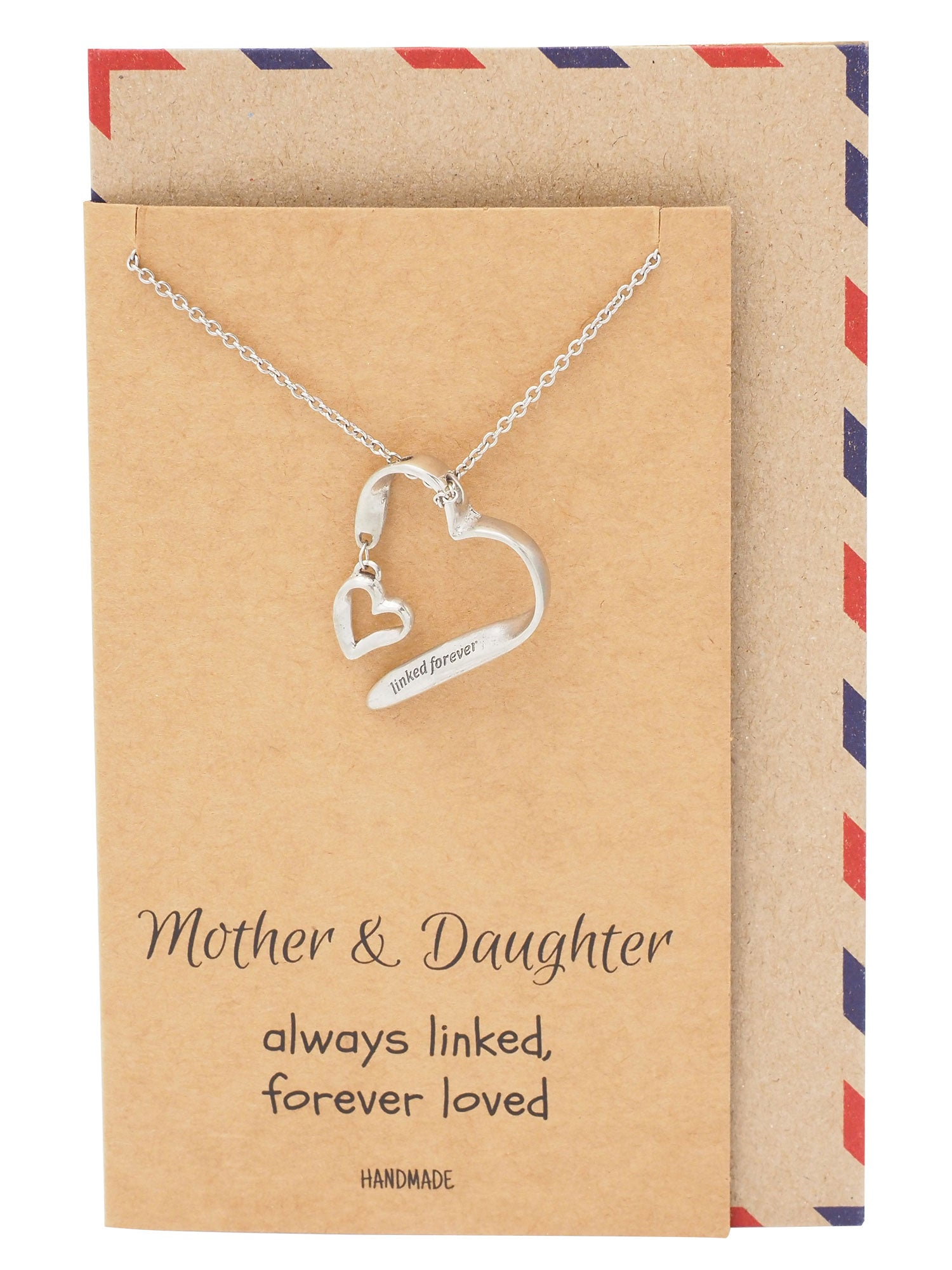 Caroline Mother Daughter Necklace, Two Hearts One Love - Quan Jewelry