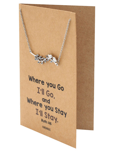 Merida 2 Birds on Branch Pendant Necklace, Gifts for Women, Silver Tone