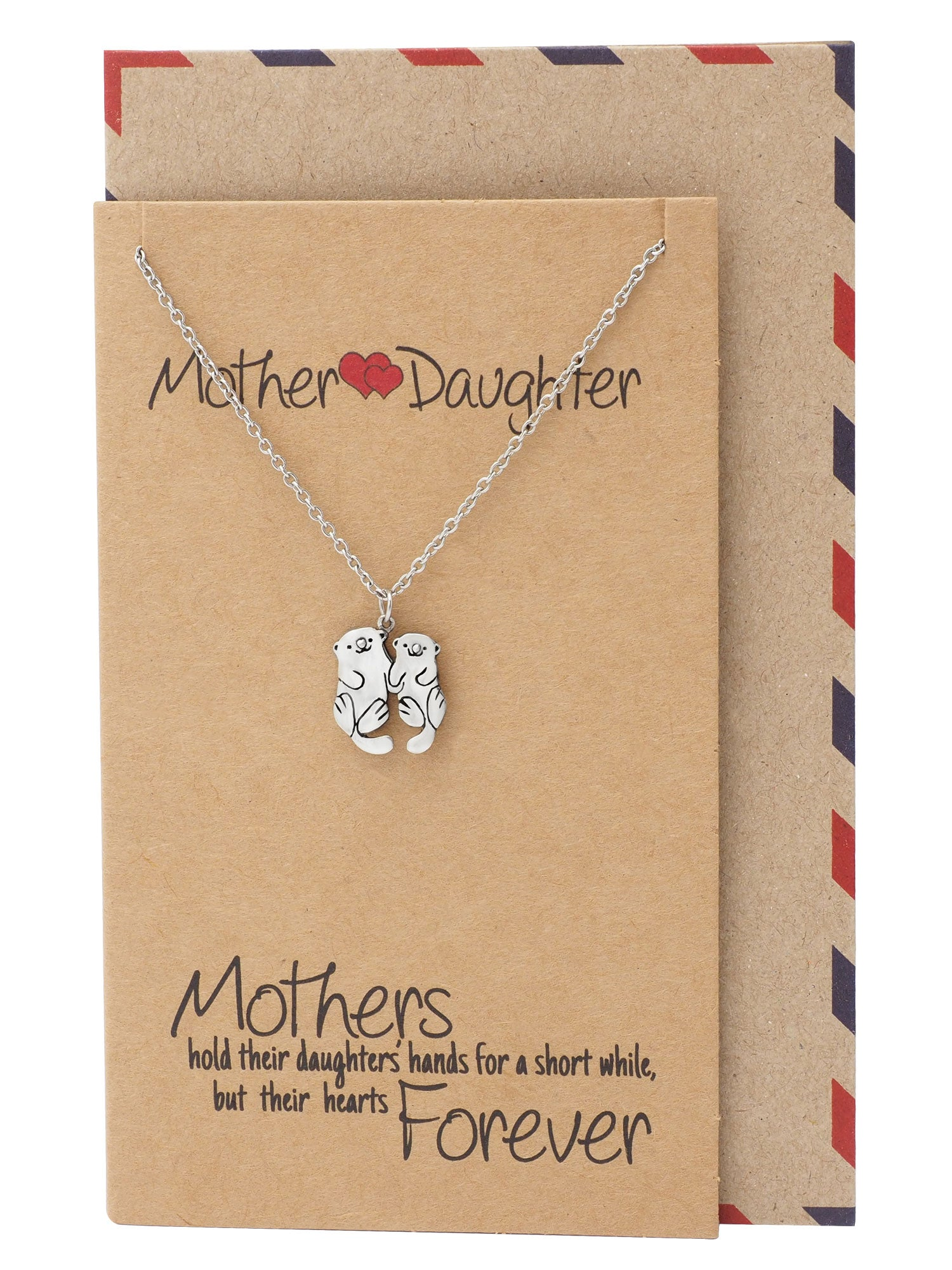 Adriana Mother and Daughter Otter Necklace with Inspirational Quote