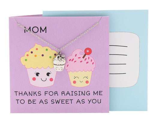 Mya Mother's Day Gifts Cupcake Necklace MOM Thanks for raising me to be as sweet as you