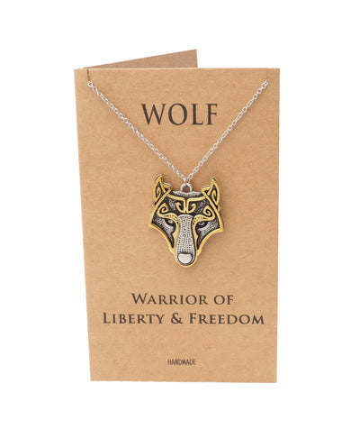 Amora Wolf Pendant Necklace, Gifts for Women, Inspirational Jewelry