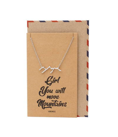 Almera Necklace for Women, Mountain Pendant Necklace, Motivational Jewelry Gift