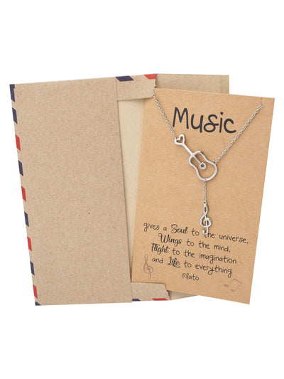 Cattleya Guitar Music Note Necklace with Treble Pendant, Gifts for Music Lovers - Quan Jewelry