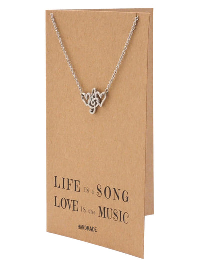 Seb Treble Clef with Hearts Necklace, Gifts for Music Lovers, Music Jewelry