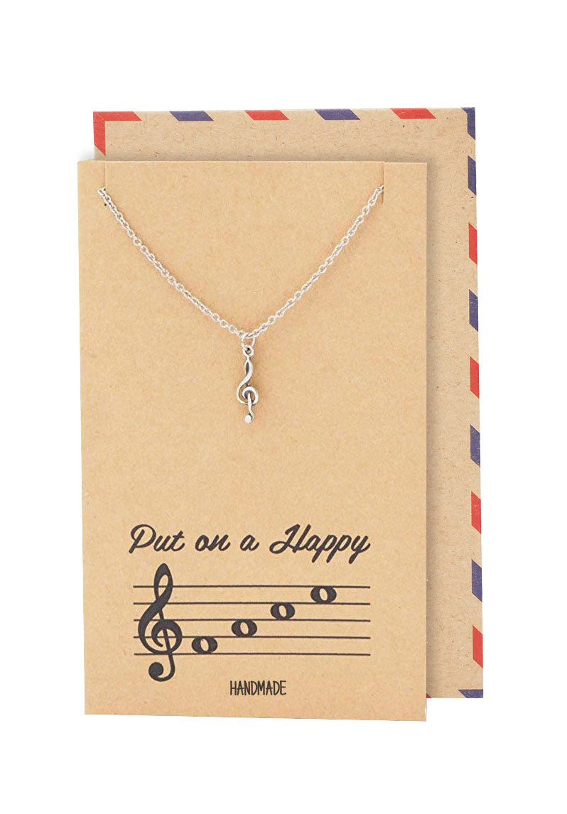 Alanis Music Note Treble Necklace, Gifts for Music Lovers, Music Jewelry