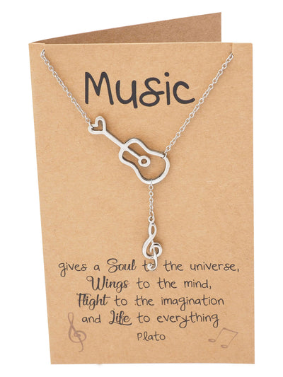 Cattleya Guitar Music Note Necklace with Treble Pendant