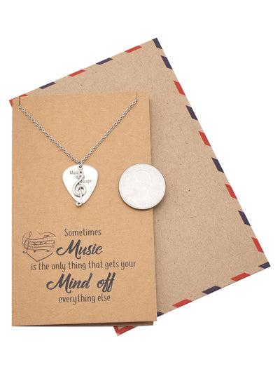 Alena Guitar Pick and Music Note Necklace