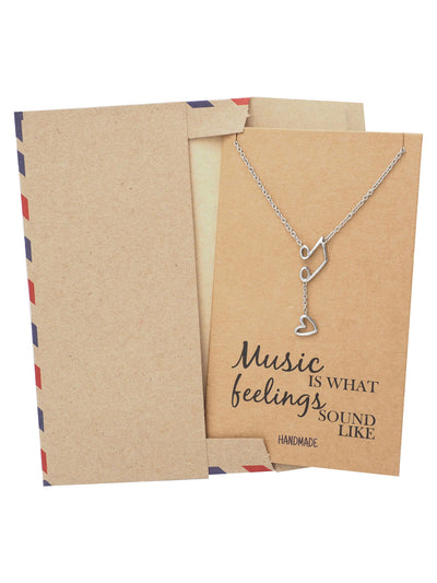 Nia Music Note Heart Necklace