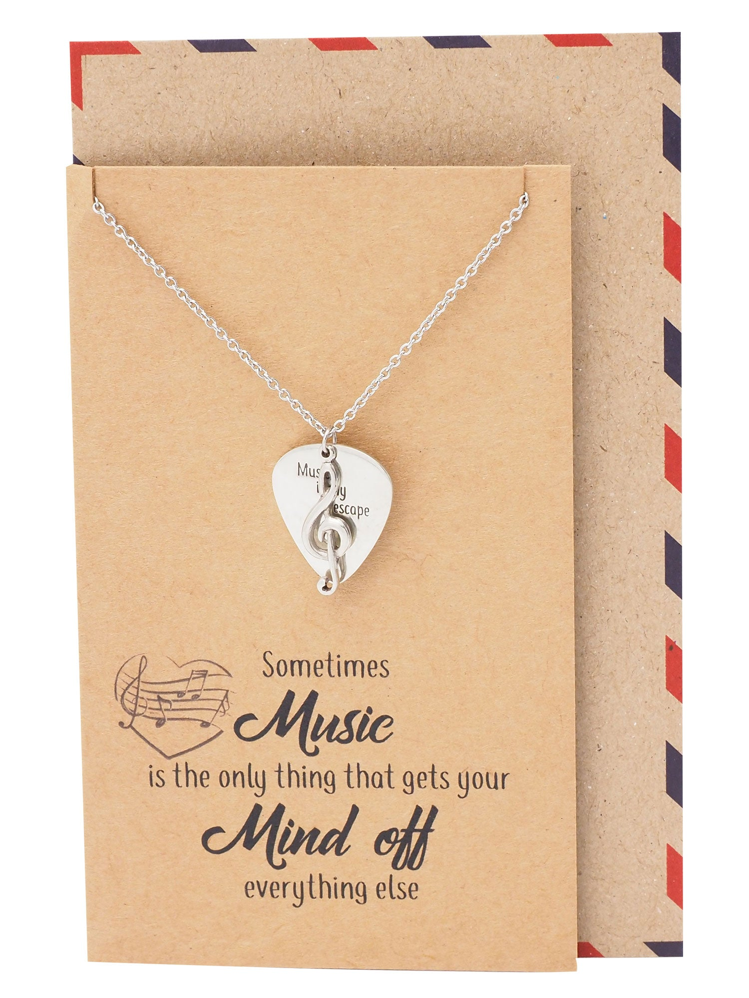 Alena Guitar Pick and Music Note Necklace, Gifts for Music Lovers - Quan Jewelry
