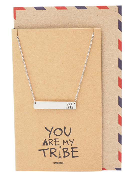 Tracey Bar Pendant Necklace with Teepee and Arrows Inscription, Best Friend's Gift with Greeting Card
