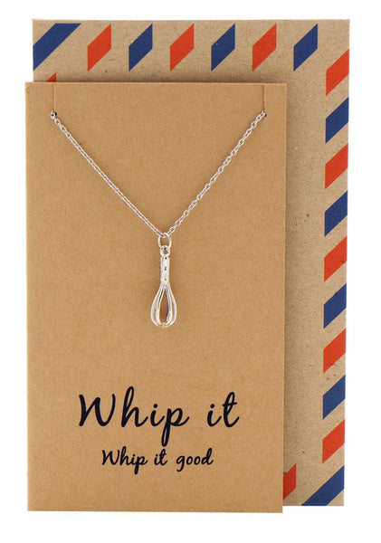 Nadja Whisk Necklace Gift for Bakers, Funny Greeting Card,  - Quan Jewelry - 1