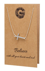 Naomi Sideways Cross Necklace, Christian Jewelry,  - Quan Jewelry - 4