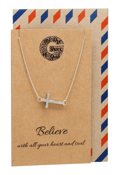 Naomi Sideways Cross Necklace, Christian Jewelry, Silver / 925 Sterling Silver - Quan Jewelry - 1