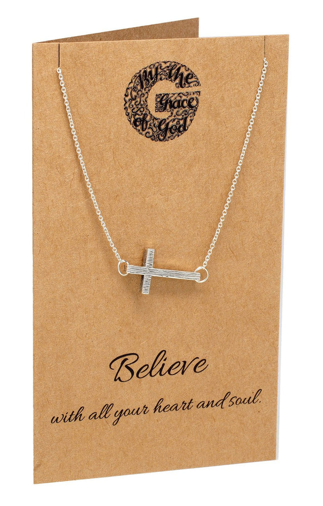 Naomi Sideways Cross Necklace, Christian Jewelry,  - Quan Jewelry - 3