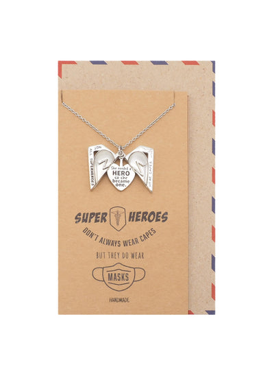 Florence Superhero Locket Pendant Necklace, Appreciation Gifts for Nurses and Doctors with Inspirational Greeting Card
