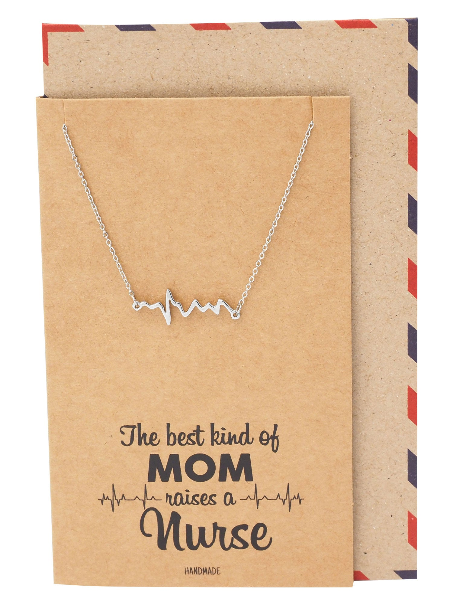 Naiobe Electrocardiogram Heartbeat Necklace, Nurse Gifts, Gifts for Women with Greeting Card