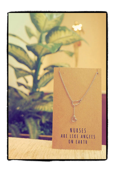 Annie Heart Lariat Angel Wing Necklace, Gifts for Nurses