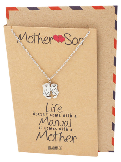 Kayden Mother and Son Otter Necklace with Inspirational Quote, Gifts for Mom
