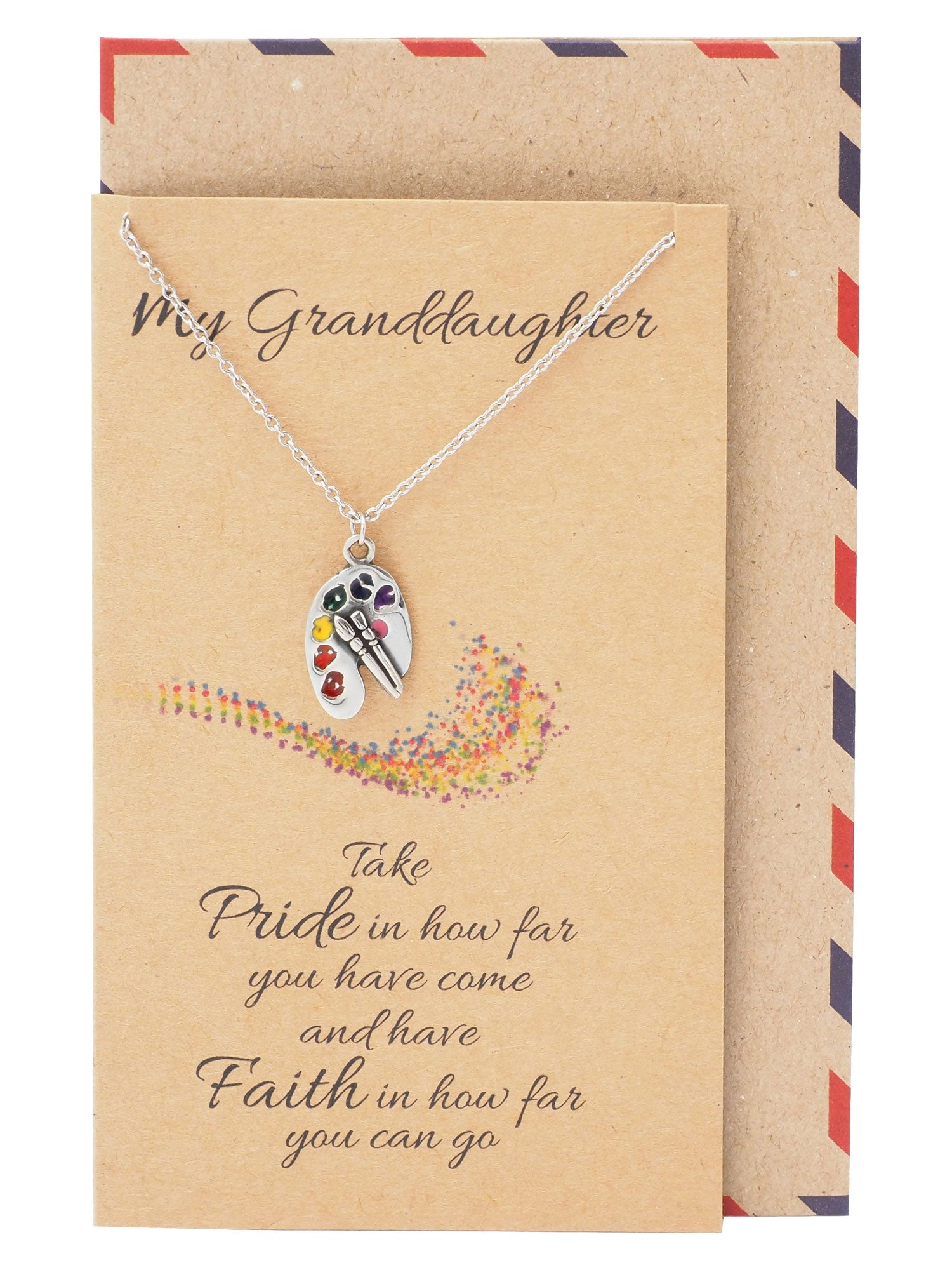 Sammy Happy Birthday Granddaughter Paint Necklace with Inspirational Quote