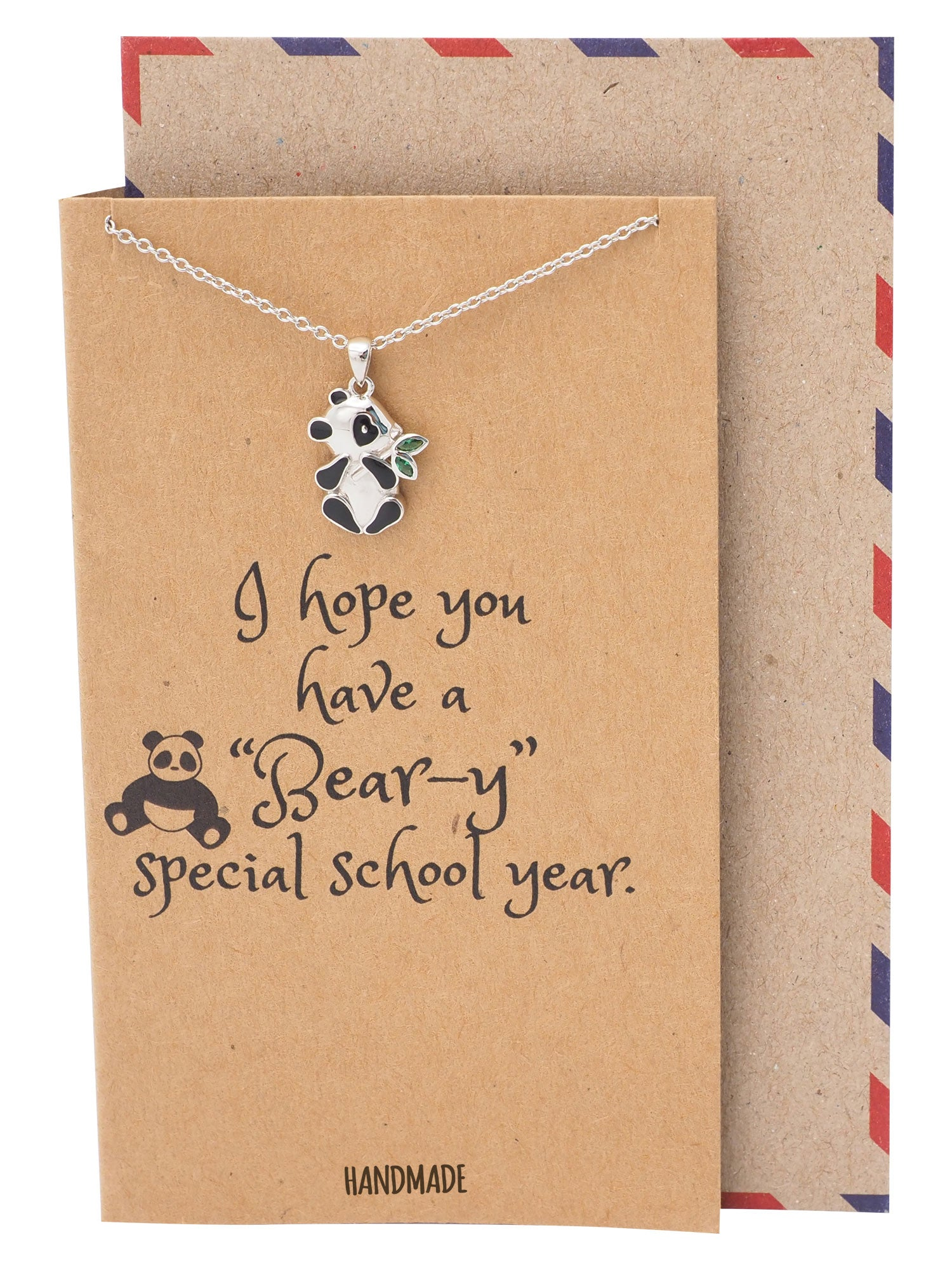 Anastasia Panda Pendant Necklace, Gifts for Women, Inspiring Necklace for Teens with Greeting Card