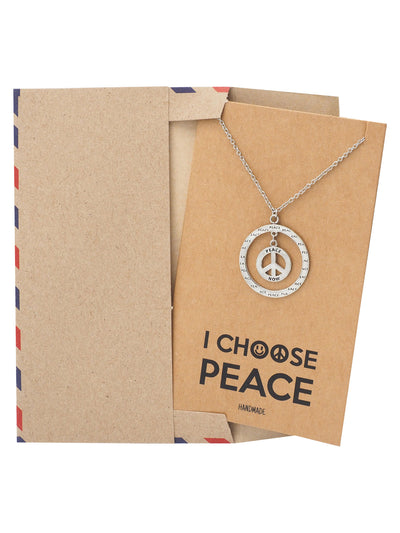 Bryll Peace in Circle Pendant Necklace Inspirational Jewelry