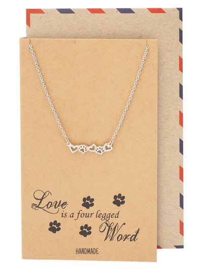 Reid Gifts for Dog Lovers Paw Print Necklace Pet Quotes Greeting Card