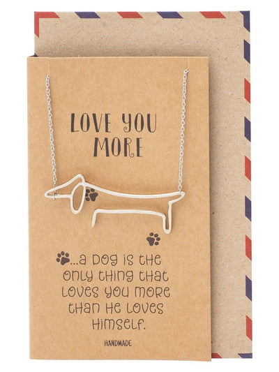 Saanvi Dog Pendant Necklace for Women with Greeting Card, Silver Tone