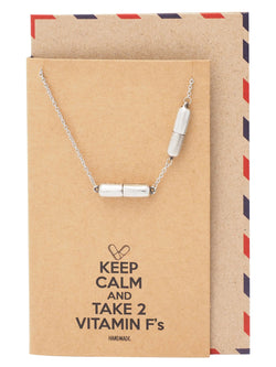 Daphne 2 Mini Pills Necklace, Jewelry for Women, Best Friend Gifts with Greeting Card - Quan Jewelry