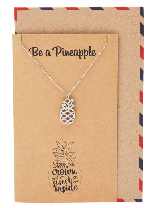 Khalee Pineapple Charm Necklace for Women, Inspirational and Motivational Quote - Quan Jewelry