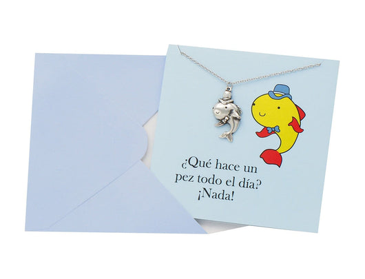 Pun Greeting Cards With Fish Charm Necklace