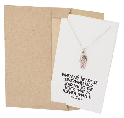 Fight Breast Cancer Jewelry, Cancer Awareness Necklace - 10% donated to NBCF - Quan Jewelry
